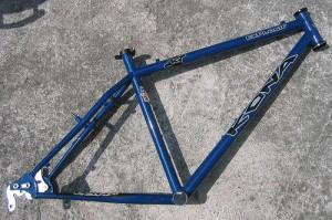 A Kona mountain bike frame